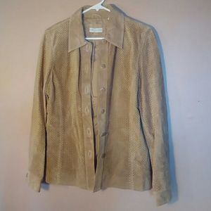 Lord & Taylor Small Tan Suede Leather Jacket